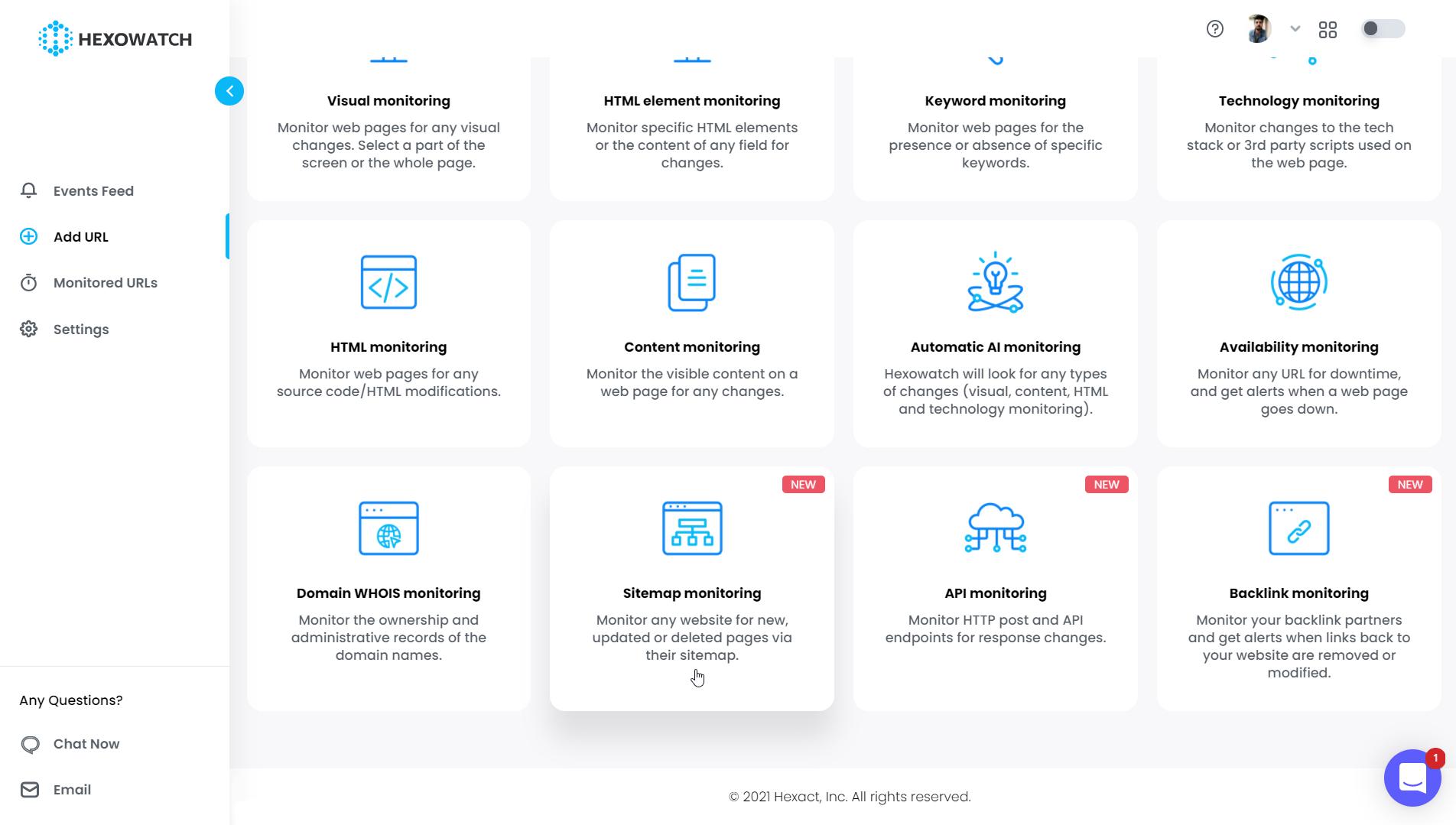 Add URL Options - Sitemap Monitoring