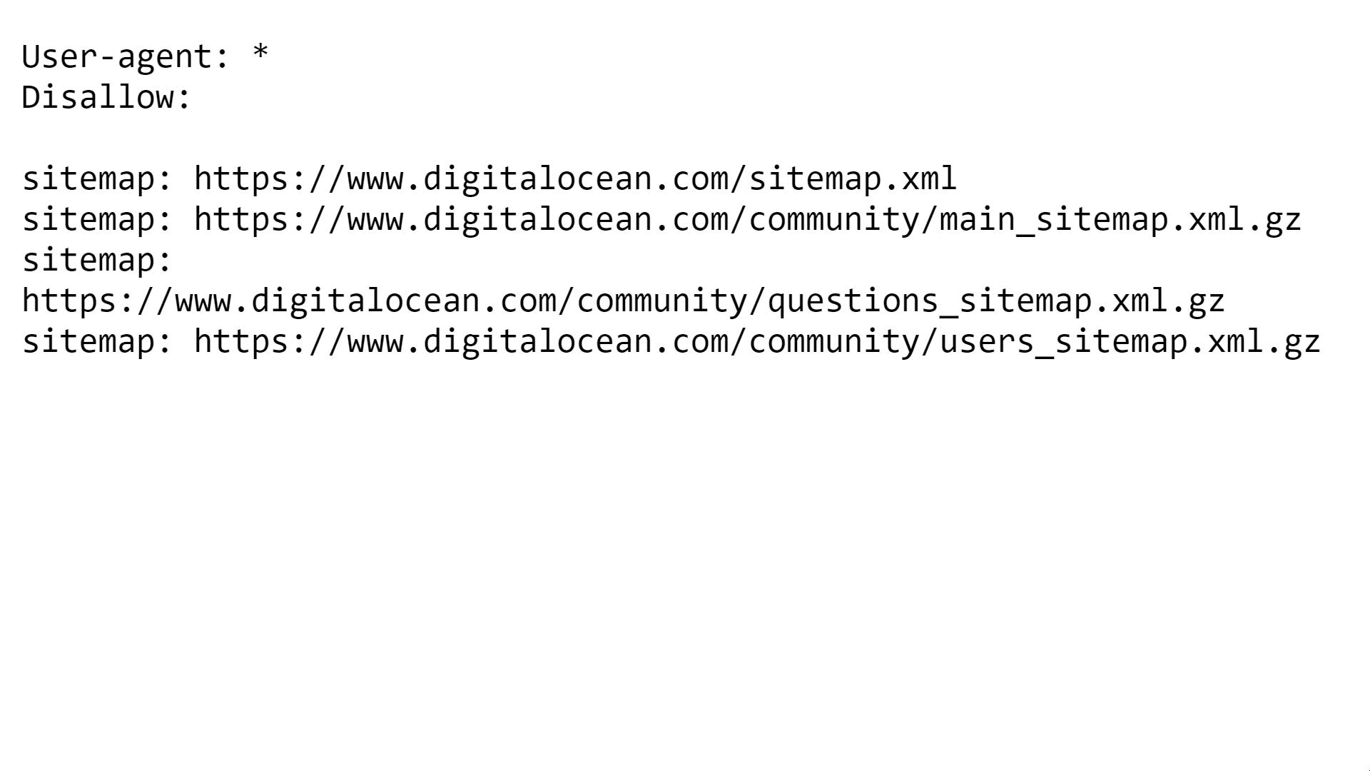 DigitalOcean - Robots.txt