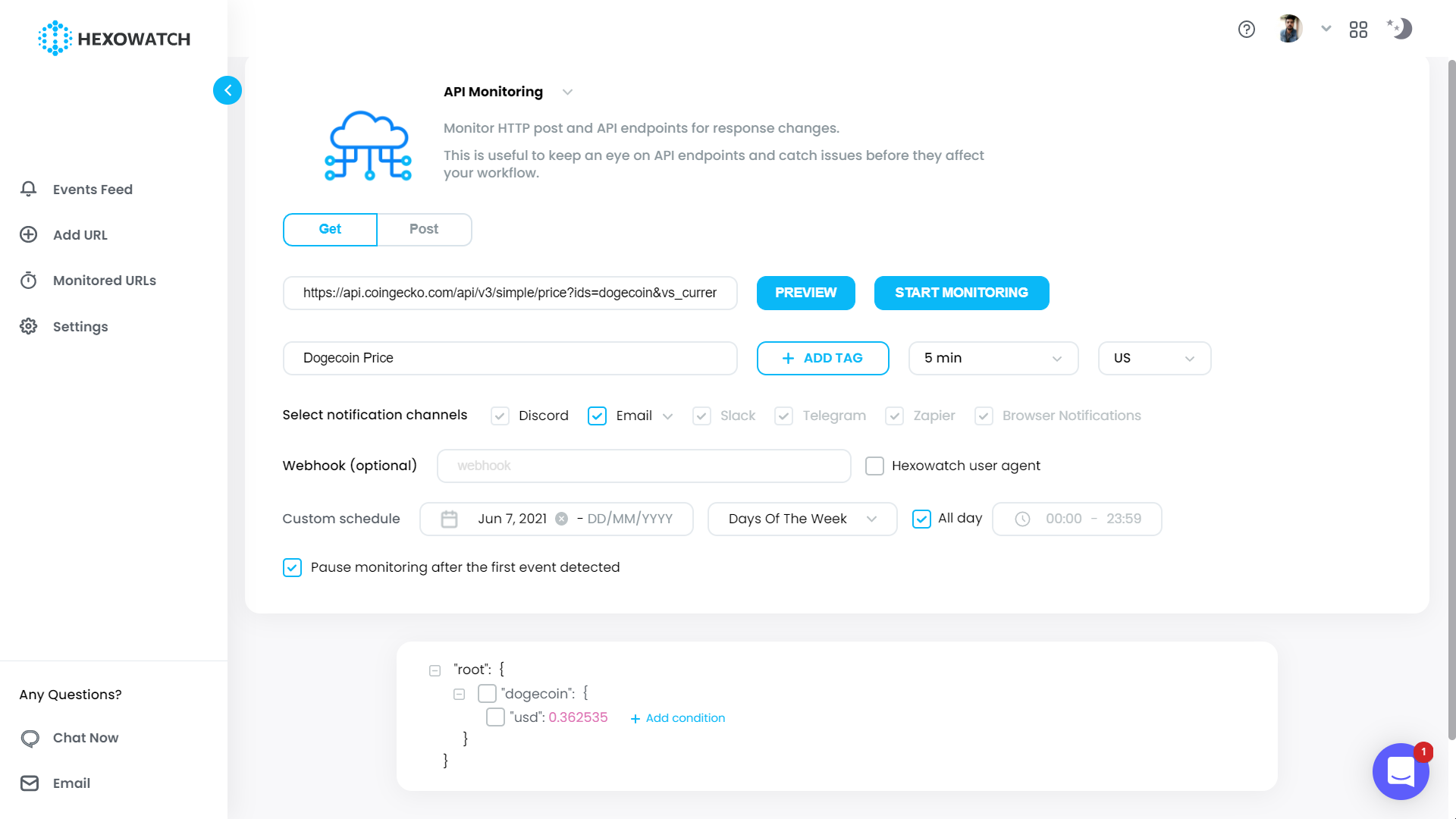 API Monitoring - Enter Details